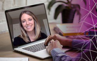 Photo of Jessica McPherrin Sheridan on a Computer Screen